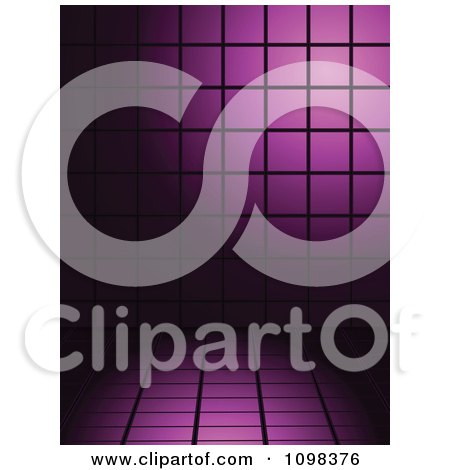 Clipart 3d Background Of Purple Tiles With Black Lines - Royalty Free Vector Illustration by elaineitalia