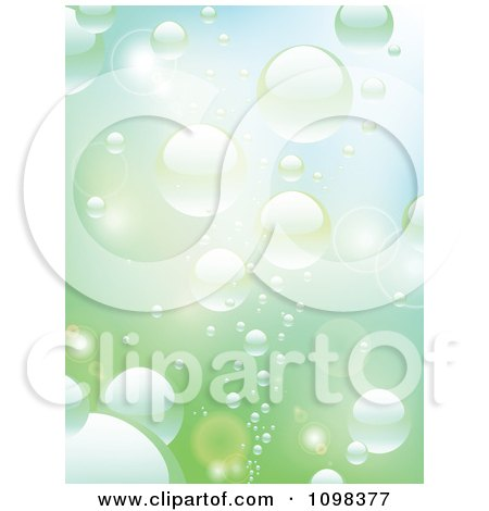 Clipart Background Of Rising Reflective Bubbles In Water - Royalty Free Vector Illustration by elaineitalia
