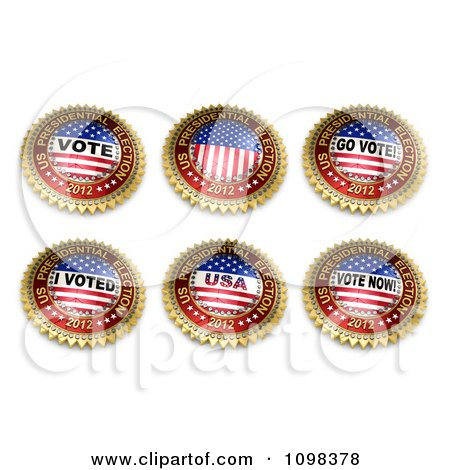Clipart Six 3d 2012 Gold Red White And Blue US Presidential Election Buttons - Royalty Free CGI Illustration by stockillustrations