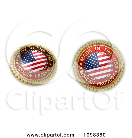 Clipart 3d Made In The USA Seals With The Flag - Royalty Free CGI Illustration by stockillustrations