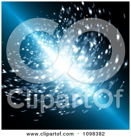 Clipart Streak Of Light Shining Through Blue With Blurred Particles - Royalty Free Vector Illustration by MilsiArt
