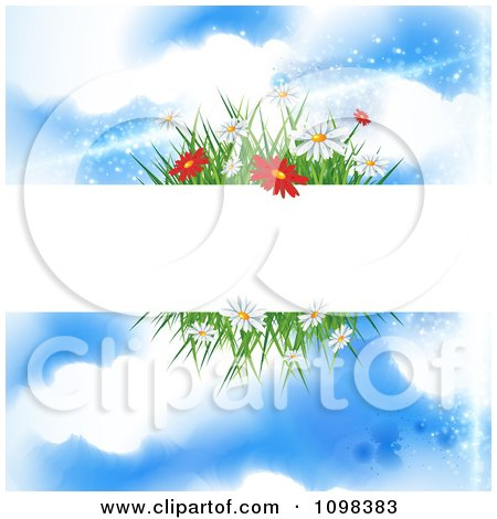 Clipart Blank Banner With Spring Flowers And Grass Against A Blue Sky With Clouds - Royalty Free Vector Illustration by MilsiArt