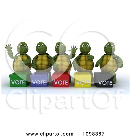 Clipart 3d Political Tortoises Canvasing For Votes In An Election - Royalty Free CGI Illustration by KJ Pargeter