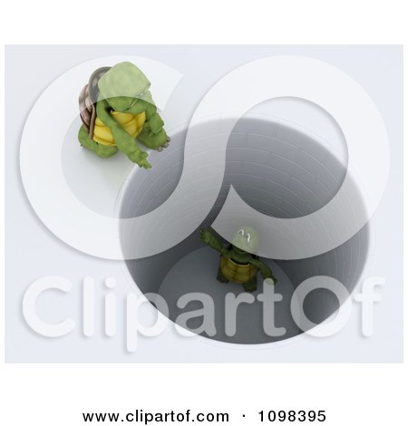 Clipart 3d Tortoise Calling Down To Another Stuck In A Deep Hole - Royalty Free CGI Illustration by KJ Pargeter