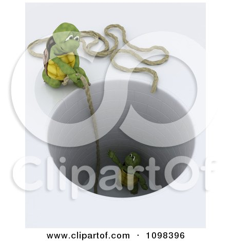 Clipart 3d Tortoise Dropping A Rope To Rescue Another Stuck In A Deep Hole - Royalty Free CGI Illustration by KJ Pargeter