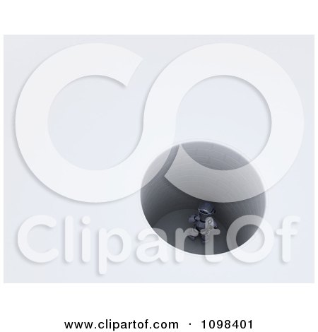 Clipart 3d Robot Stuck In A Deep Hole - Royalty Free CGI Illustration by KJ Pargeter
