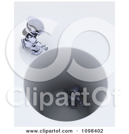 Clipart 3d Robot Calling Down To Another Stuck In A Deep Hole - Royalty Free CGI Illustration by KJ Pargeter