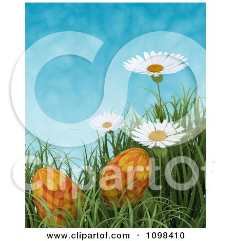 Clipart 3d Orange Easter Eggs In Grass With White Daisies Against A Blue Sky - Royalty Free CGI Illustration by KJ Pargeter