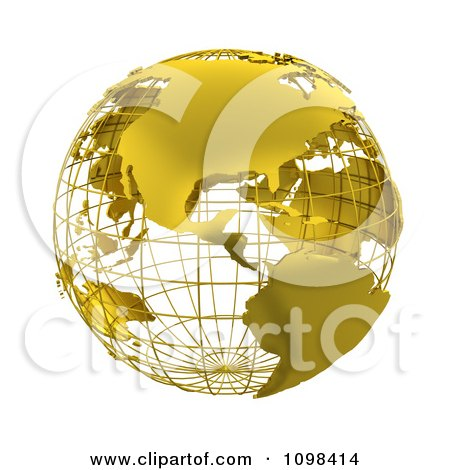 Clipart 3d Golden Wire Grid Globe Featuring The Americas - Royalty Free CGI Illustration by KJ Pargeter