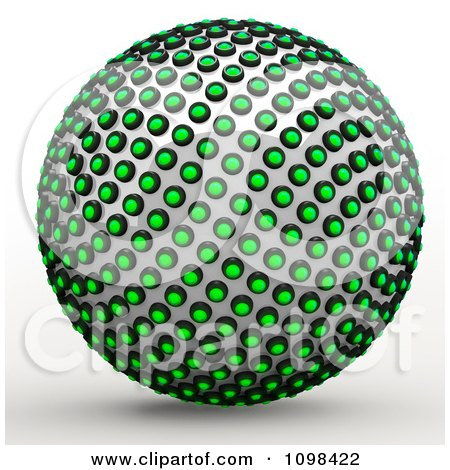 Clipart 3d Chrome And Green Light Sphere An Example Of A Fibonnacci Pattern - Royalty Free CGI Illustration by Leo Blanchette
