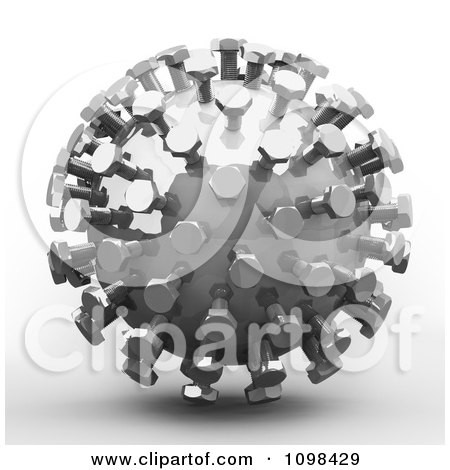 Clipart 3d Chrome Mecha Ball An Example Of A Fibonnacci Pattern - Royalty Free CGI Illustration by Leo Blanchette