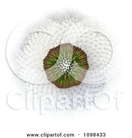 Clipart 3d Dandelion Seed Head Shown With A Fibonacci Sequence Pattern 3 - Royalty Free CGI Illustration by Leo Blanchette