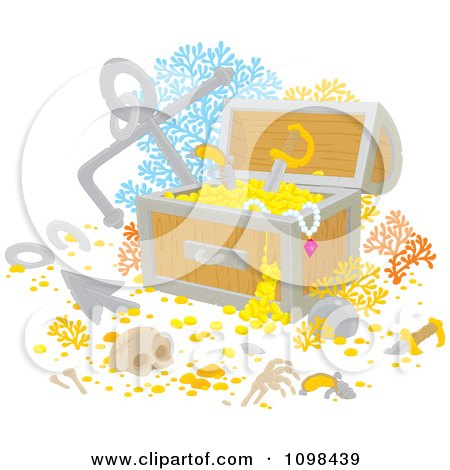 Clipart Sunken Treasure Chest With Gold Bones Coral And An Anchor - Royalty Free Vector Illustration by Alex Bannykh