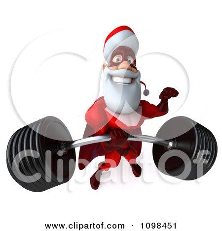 3d Super Santa Lifting A Heavy Barbell 3 Posters, Art Prints