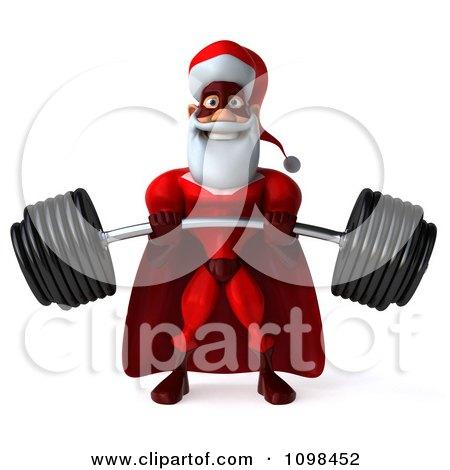 3d Super Santa Lifting A Heavy Barbell 1 Posters, Art Prints