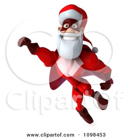 3d Super Santa Flying 3 Posters, Art Prints