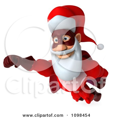 Clipart 3d Super Santa Flying 2 - Royalty Free CGI Illustration by Julos