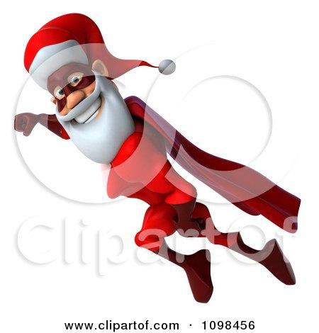 3d Super Santa Flying 1 Posters, Art Prints