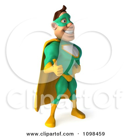 Clipart 3d Super Hero Man In A Green And Yellow Costume Facing Right And Holding A Thumb Up - Royalty Free CGI Illustration by Julos