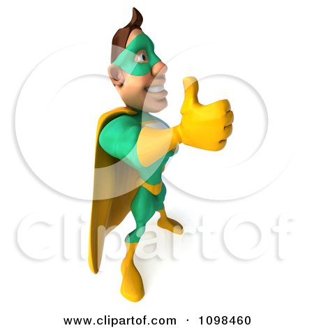 Clipart 3d Super Hero Man In A Green And Yellow Costume Positioned To The Right With A Thumb Up - Royalty Free CGI Illustration by Julos