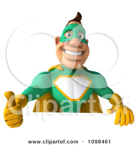 Clipart 3d Super Hero Man In A Green And Yellow Costume With A Sign 7 - Royalty Free CGI Illustration by Julos