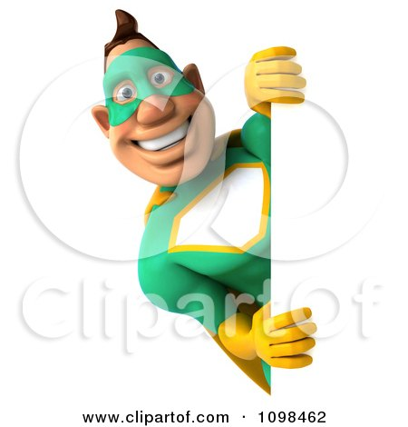 Clipart 3d Super Hero Man In A Green And Yellow Costume With A Sign 8 - Royalty Free CGI Illustration by Julos