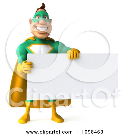 Clipart 3d Super Hero Man In A Green And Yellow Costume With A Sign 9 - Royalty Free CGI Illustration by Julos