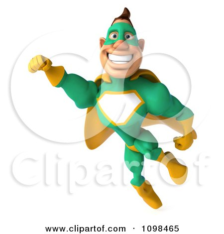 Clipart 3d Super Hero Man In A Green And Yellow Costume In Flight 1 - Royalty Free CGI Illustration by Julos