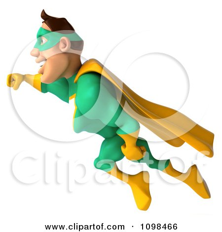 Clipart 3d Super Hero Man In A Green And Yellow Costume In Flight 2 - Royalty Free CGI Illustration by Julos