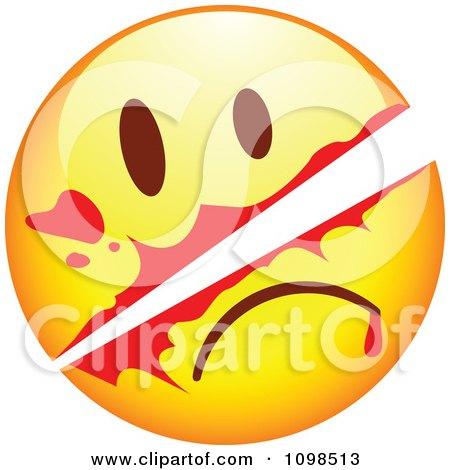Clipart Slashed Yellow Cartoon Smiley Emoticon Face - Royalty Free Vector Illustration by beboy
