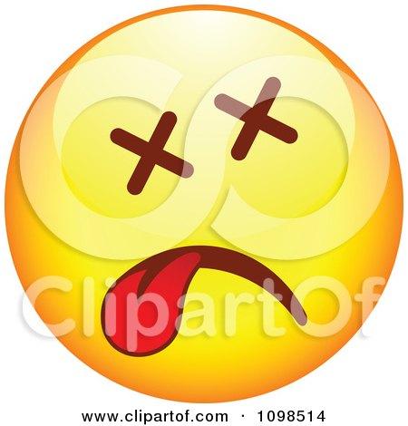 Clipart Dead Yellow Cartoon Smiley Emoticon Face - Royalty Free Vector Illustration by beboy