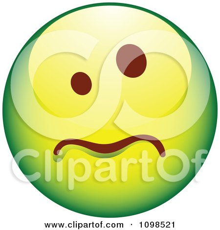 Clipart Sick Green Cartoon Smiley Emoticon Face - Royalty Free Vector Illustration by beboy