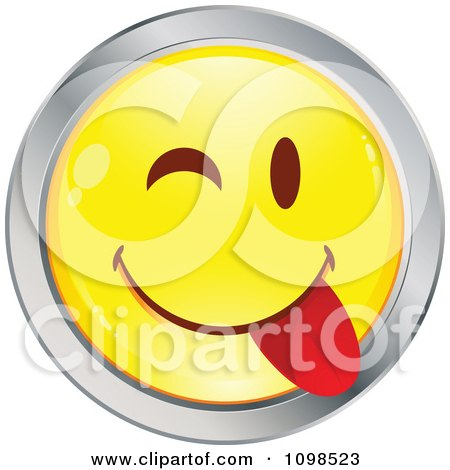 Clipart Yellow And Chrome Goofy Cartoon Smiley Emoticon Face 1 - Royalty Free Vector Illustration by beboy
