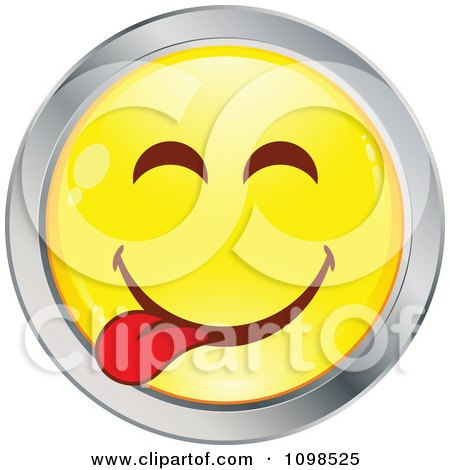 Clipart Yellow And Chrome Goofy Cartoon Smiley Emoticon Face 2 - Royalty Free Vector Illustration by beboy