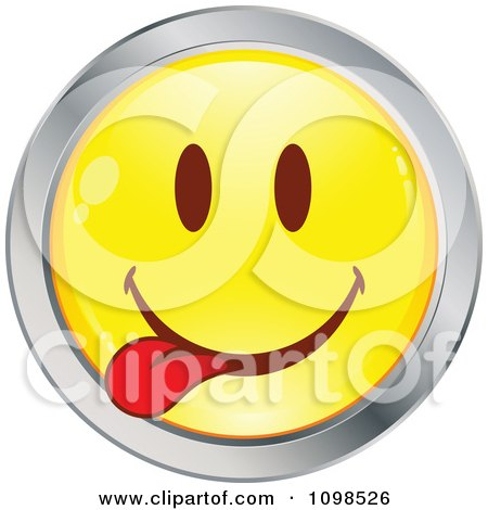 Clipart Yellow And Chrome Goofy Cartoon Smiley Emoticon Face 3 - Royalty Free Vector Illustration by beboy