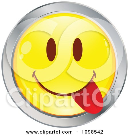 Clipart Yellow And Chrome Goofy Cartoon Smiley Emoticon Face 6 - Royalty Free Vector Illustration by beboy