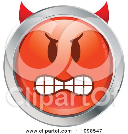 Clipart Red And Chrome Bully Devil Cartoon Smiley Emoticon Face - Royalty Free Vector Illustration by beboy