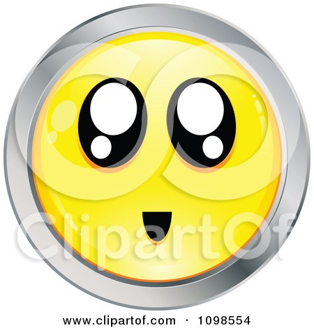 Clipart Surprised Yellow And Chrome Cartoon Smiley Emoticon Face 2 - Royalty Free Vector Illustration by beboy