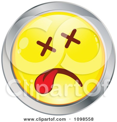 Clipart Dead Yellow And Chrome Cartoon Smiley Emoticon Face - Royalty Free Vector Illustration by beboy