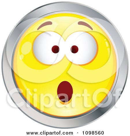 Clipart Surprised Yellow And Chrome Cartoon Smiley Emoticon Face 5 - Royalty Free Vector Illustration by beboy