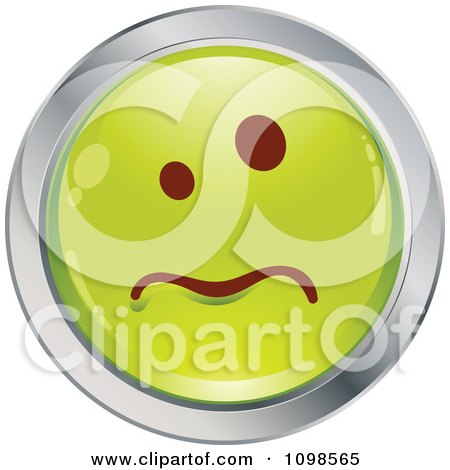 Clipart Sick Green And Chrome Cartoon Smiley Emoticon Face - Royalty Free Vector Illustration by beboy