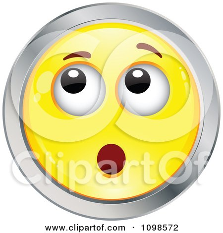 Clipart Surprised Yellow And Chrome Cartoon Smiley Emoticon Face 6 - Royalty Free Vector Illustration by beboy