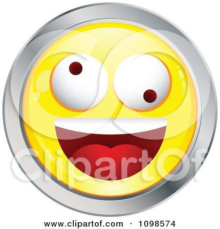 Clipart Yellow And Chrome Silly Cartoon Smiley Emoticon Face - Royalty Free Vector Illustration by beboy