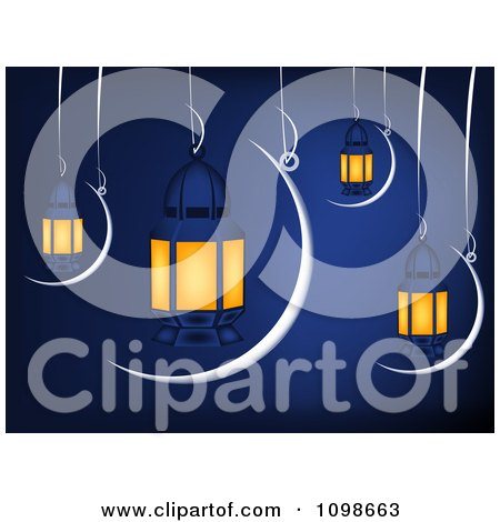 Clipart Muslim Ramadan Crescent Moons And Lanterns Suspended Over Blue - Royalty Free Vector Illustration by creativeapril