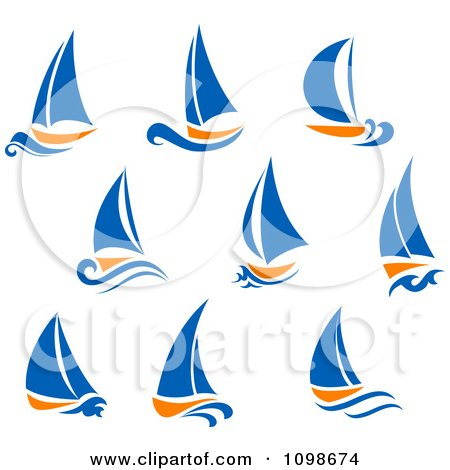 Clipart Orange And Blue Sail Boats - Royalty Free Vector Illustration by Vector Tradition SM