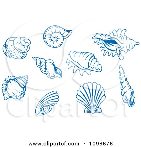 Clipart Blue Shell Logos 2 - Royalty Free Vector Illustration by Vector Tradition SM