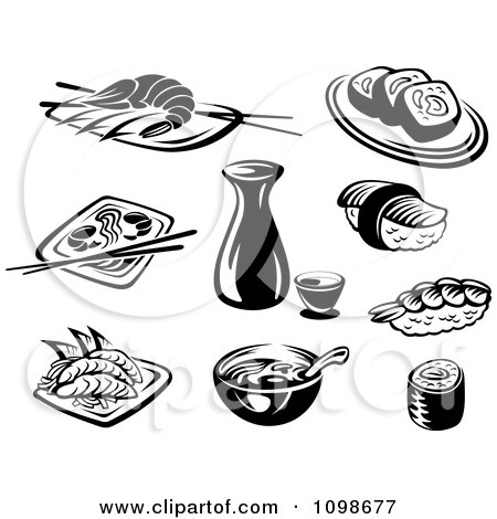 Clipart Black And White Japanese Food And Dishes - Royalty Free Vector Illustration by Vector Tradition SM