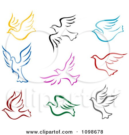 Clipart Colorful Flying Peace Doves Royalty Free Vector