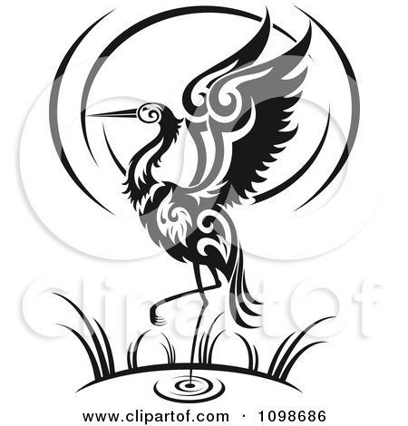 Clipart Black And White Wading Tribal Crane Flapping Its Wings - Royalty Free Vector Illustration by Vector Tradition SM