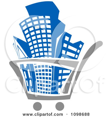 Clipart City Buildings In A Shopping Cart - Royalty Free Vector Illustration by Vector Tradition SM